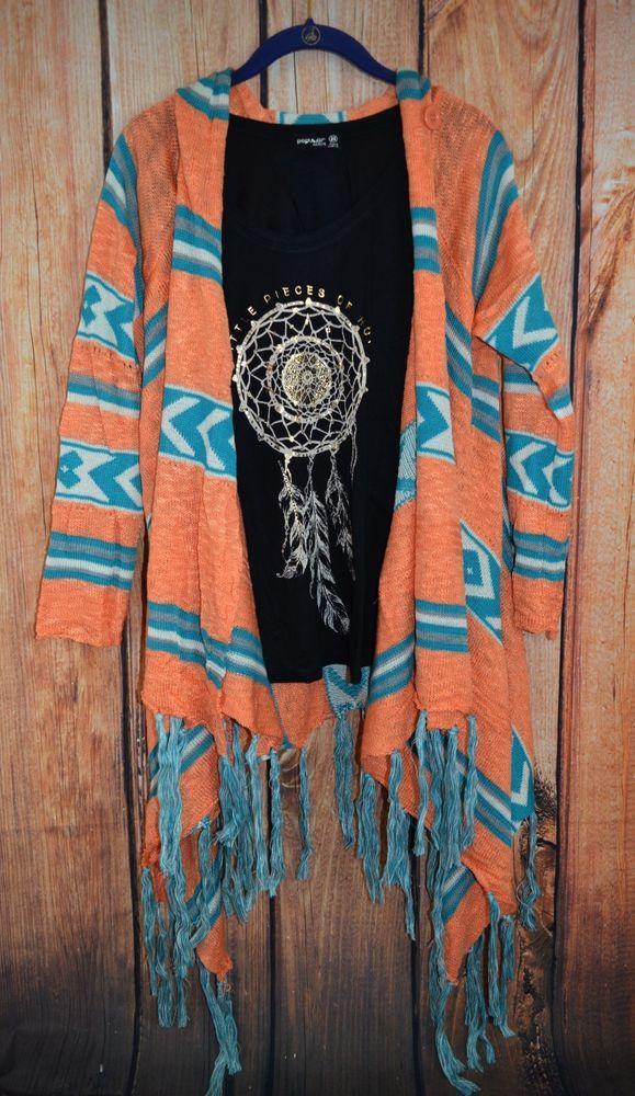 CARDIGAN FRINGE Boho Cowgirl Gypsy Western Southwest SOFTEST Sweater Knit M/L…