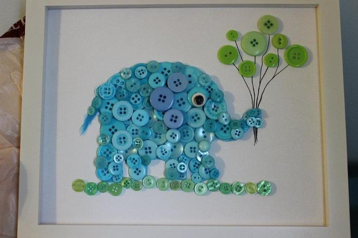 elephant button art... But we could make a giraffe instead!