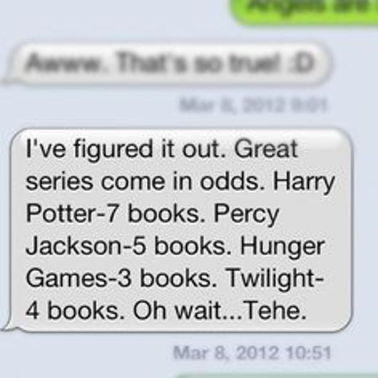 Then the best book based movies come in even  hunger games 4 percy jackson 2 harry potter 8 (not counting fantastic beasts) twilight 5 oh wait not twilight