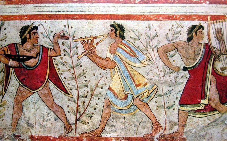 Grający na podwójnym flecie z etruskiego Grobowca Leopardów, V w p.n.e.