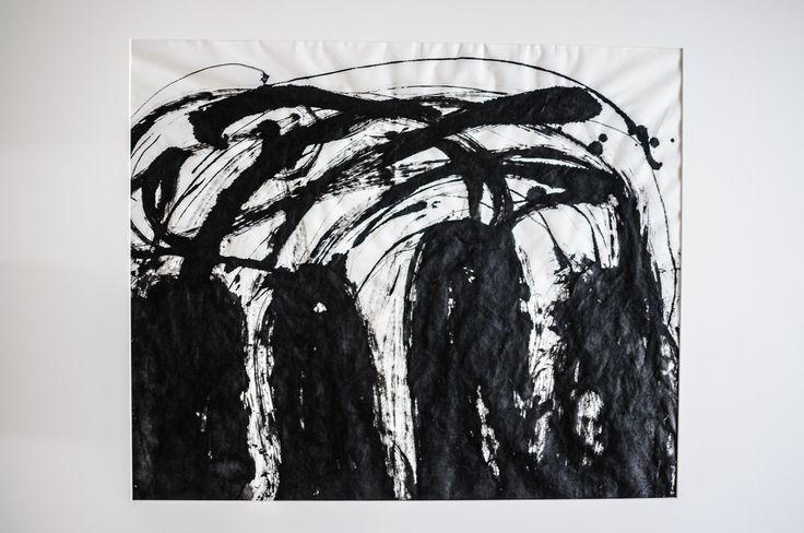 Camino a la montaña. Chinese ink on Xuan paper, 50 X 70cm, Ramón Peralta, 2015.