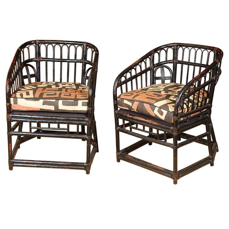 Pair Of Vintage Rattan Chairs W/ Kuba Cloth Upholstery