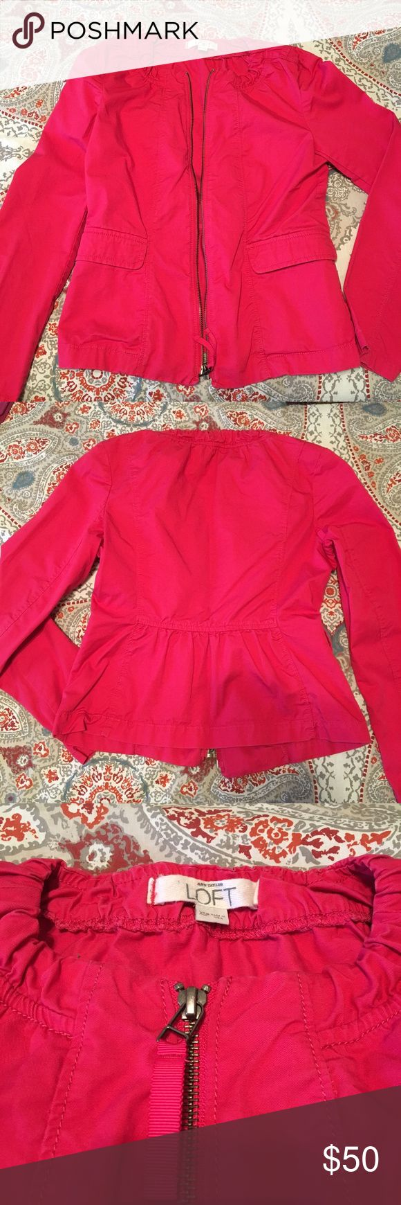 Loft XS Petite Zip Up Jacket - hot pink! Loft XS Petite zip up jacket in hot pink with tailored peplum detail in back and pockets! Lightweight and perfect for Spring and Summer layering. Worn and washed once. Smoke free and pet free home. LOFT Jackets & Coats