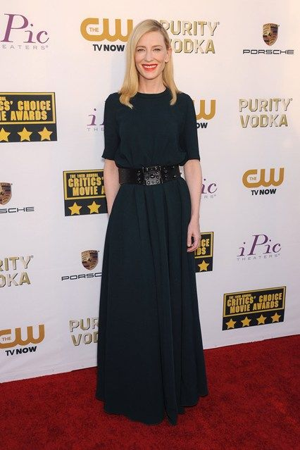 Cate Blanchett wore a Lanvin gown from the pre-autumn/winter 2014 collection and won the Best Actress award for Blue Jasmine