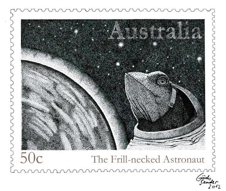 """Another drawing for """"The Frill-necked Astronaut""""."""