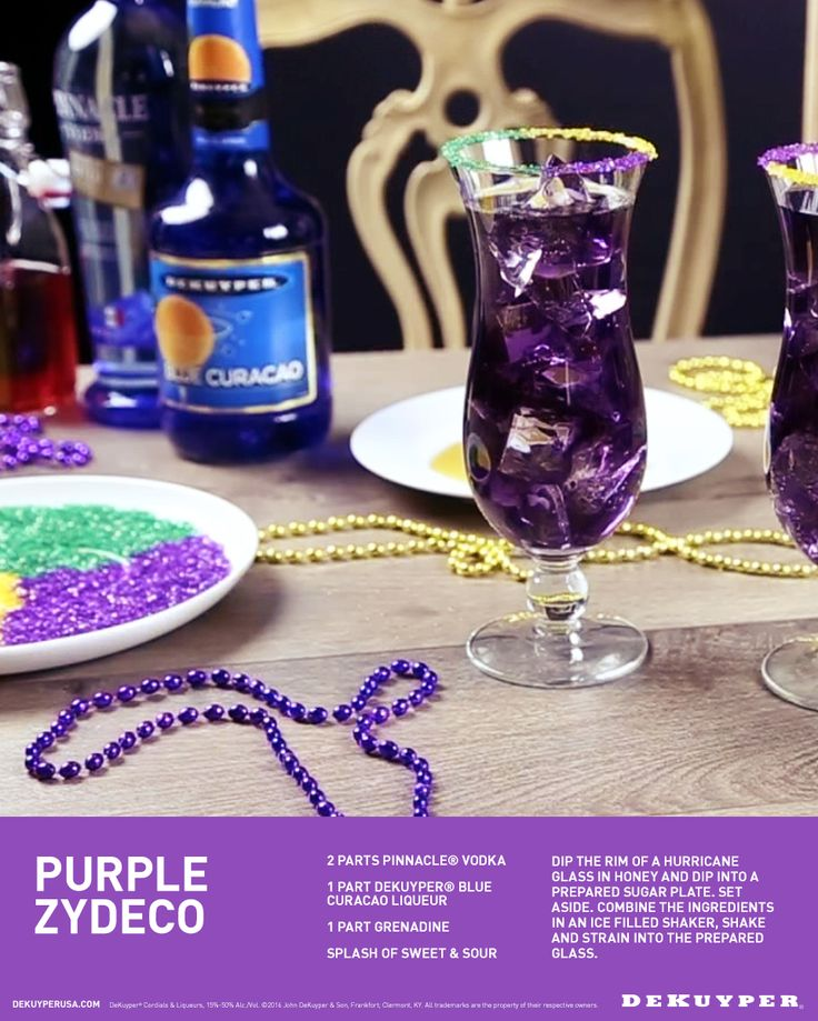 Happy Fat Tuesday! Here's a festive new Mardi Gras cocktail to celebrate. Combine 2 parts Pinnacle Vodka, 1 part DeKuyper Blue Curacao and 1 part Grenadine with a splash of sweet and sour.