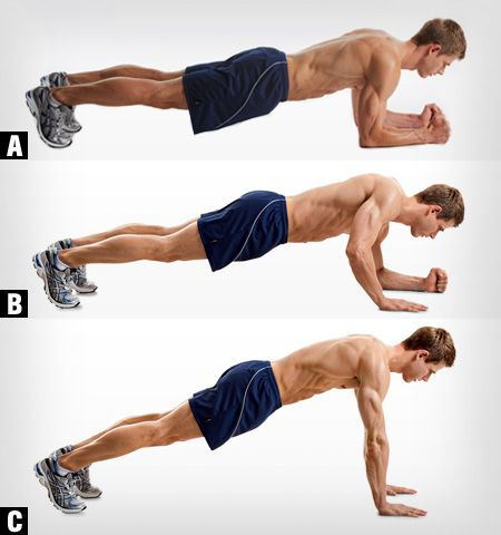 elbow up planks. go from A to C one arm at a time, and then go from C to A one arm at a time. Do this until the burn kicks in. It works the triceps and core