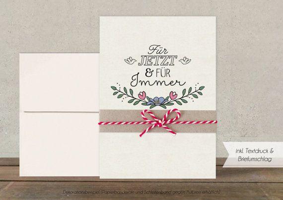 Hochzeitseinladung Für Immer recycling-weiß von Oekotussi auf Etsy