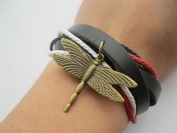 Braceletantique bronze dragonfly two circles real by Styleleader, $6.99