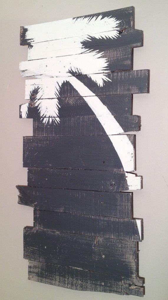 Beach Decor Palm Tree Grey Lt Lean 24 x 43 von WoodburyCreek
