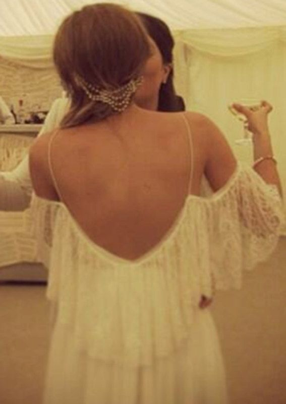Dreamy off the shoulder wedding dress with stunning low back and soft floaty silk chiffon skirt