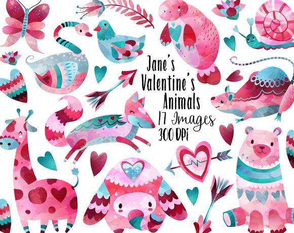 Free for a limited time only!  Valentines Day Animals Clipart by DigitalArtsi on @creativemarket  Valentine's, design, graphic, ad, affiliate