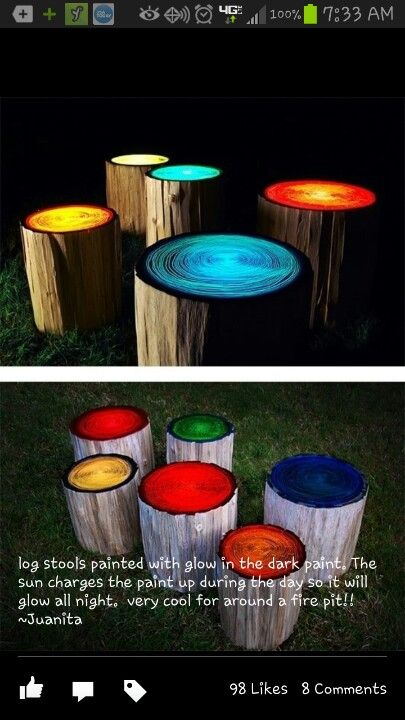 Glowing logs for outdoor seating