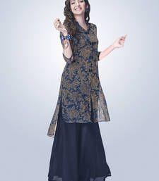 Buy Navy Blue Georgette printed kurti kurtas-and-kurti online