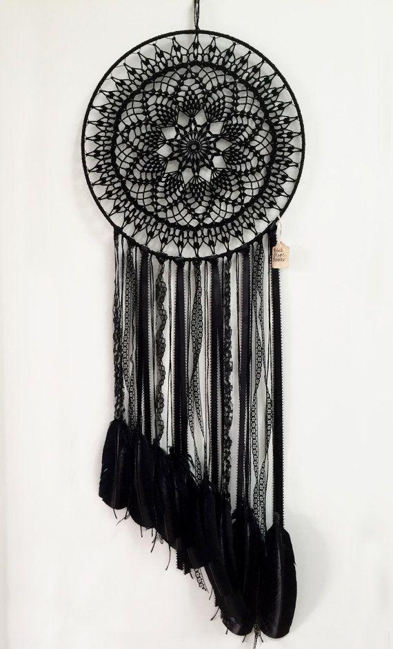 Magia negra BOHO Dreamcatcher Crochet tapete encaje por CleanSl8