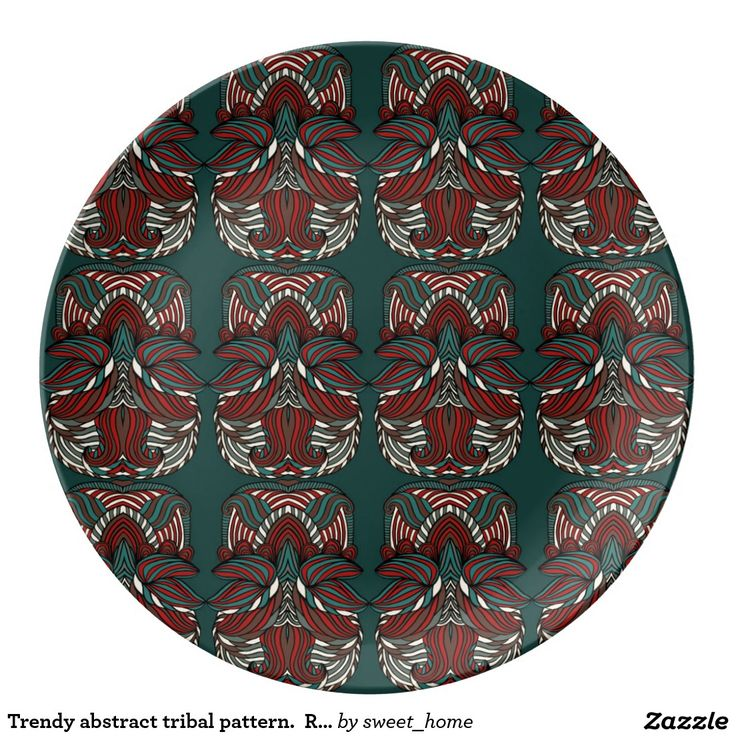 Trendy abstract tribal pattern.  Red and green. Porcelain Plate  For home design and decor. Beautiful home accessories ideas. Luxury elegant style.