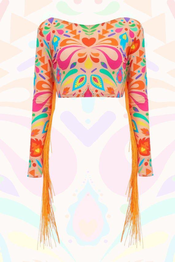 Vintage psychedelic iridescent crop top S