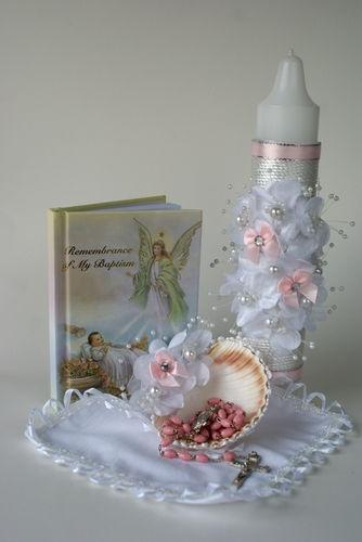 Winner? Baptism Candle Girl Catholic Missal Rosary Baptism Towel Gift Box | eBay