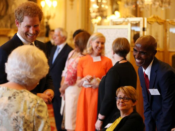 Prince Harry Photos Photos - Queen Elizabeth II and Prince Harry greet Dame Tanni Grey-Thompson (second right) and Sir Mo Farah (right) during the 2017 Queen's Young Leaders Awards Ceremony at Buckingham Palace on June 29, 2017 in London, England. The Queen's Young Leaders Programme was launched at the time of her Diamond Jubilee and aims to discover, celebrate and support young people across the Commonwealth. - 2017 Queen's Young Leaders Awards Ceremony