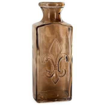 10 Quot Tall Brown Glass Vase With Fleur De Lis Large Glass