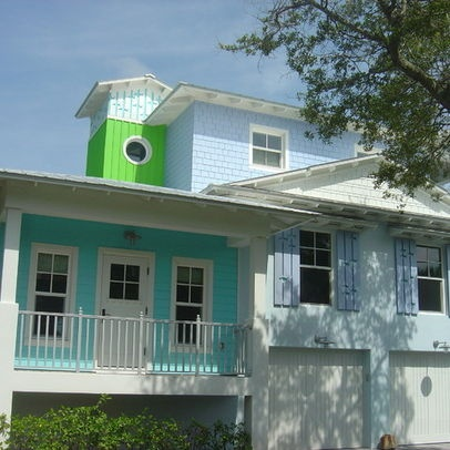Bungalow tin roof house colors key west eclectic home for Beach house siding ideas