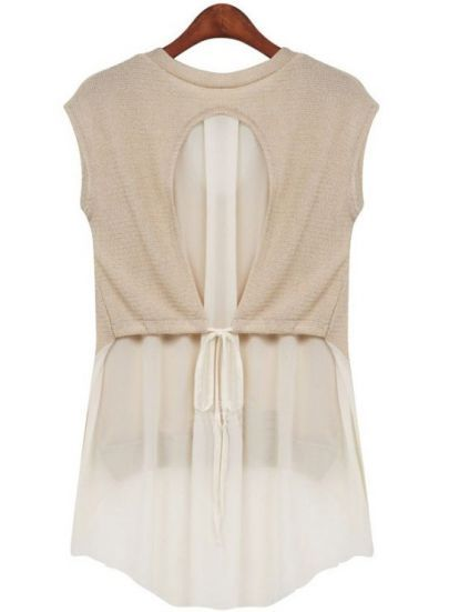 Apricot Short Sleeve Dipped Hem Chiffon Blouse pictures