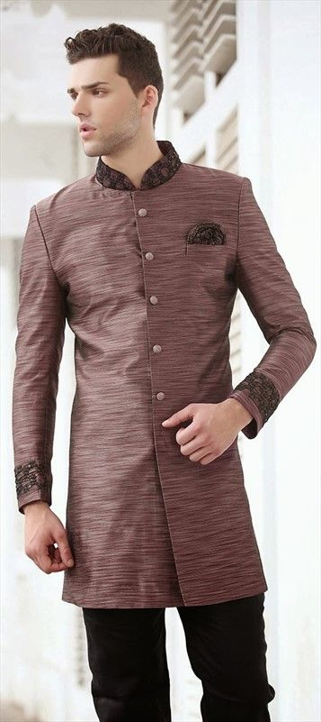 13417, IndoWestern Dress, Bhagalpuri, Thread, Sequence, Beige and Brown Color Family