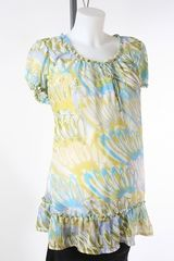 nick jr games 4 free Green and Blue Sheer Maternity Top by Liz Lange Maternity   Size Extra Large
