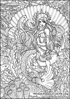 creative haven awesome fans coloring pages google search printable adult coloring pagesmermaid - Mermaid Coloring Pages Adults