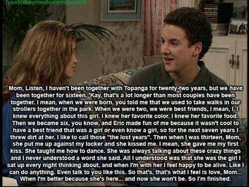 boy meets world cory and topanga relationship High quality cory and topanga inspired t-shirts by independent artists and designers from around the world all orders are custom made and most ship worldwide within 24 hours.