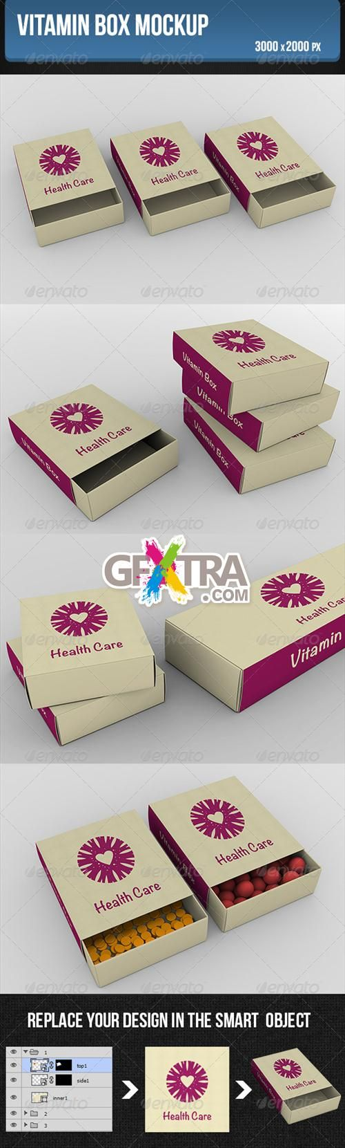 GraphicRiver - Vitamin box Mockup