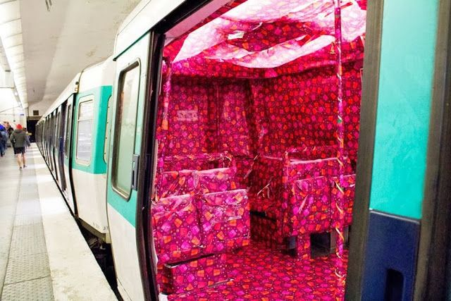 French art collective SISA PROD - gift wrapped subway car