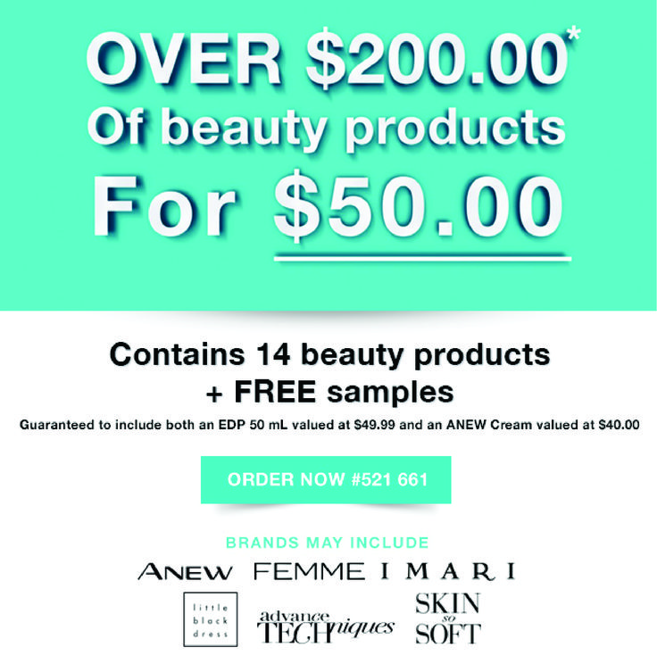 This incredible value pack contains a mystery selection of beauty products and FREE samples to a retail value over $200.  Each Beauty Value Pack will contain 14x beauty products, including:  - 50 mL EDP valued at $49.99 - ANEW Cream valued at $40 - FREE samples  Brands may include ANEW, FEMME, IMARI, LITTLE BLACK DRESS, ADVANCE TECHNIQUES or SKIN-SO-SOFT.
