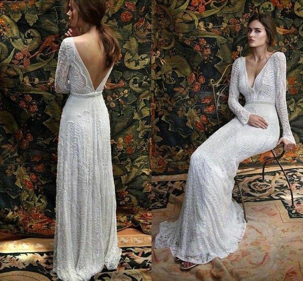 2017 Bohemian Lace Backless Wedding Dresses V neck Long Sleeves Garden Beach Bridal Gowns Fairy Sweep Train 1970s Hippie Boho Wedding BA3663