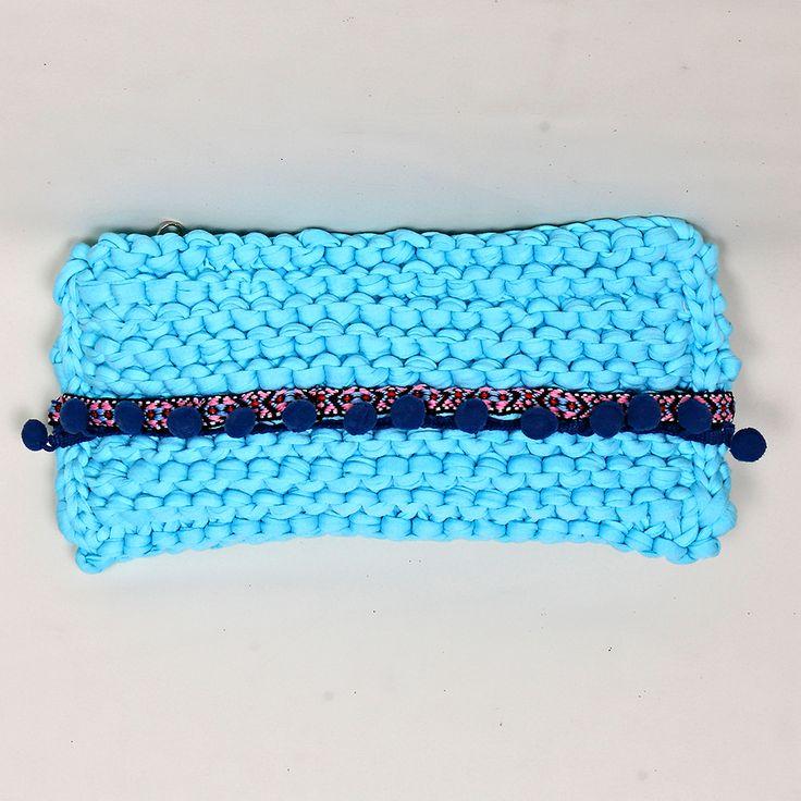 Handmade knitted clutch
