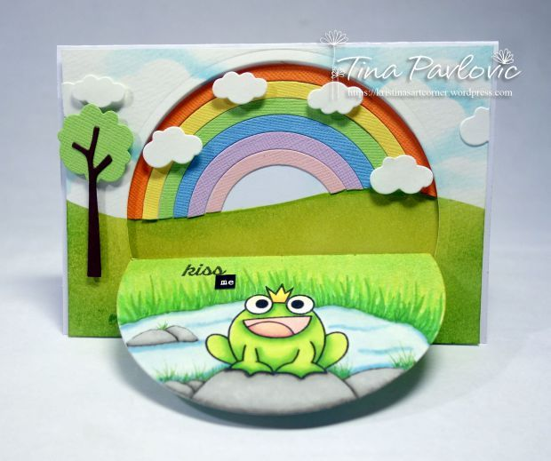 Kiss Me card by Tina Pavlovic - Paper Smooches - Royal Cuteness, Smooches stamps set, Backdrop Builders dies, Rainbow Dies