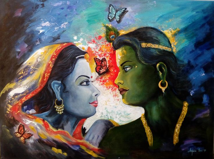 A reflection of a pure, pious and epic love story of Radha Krishna. This divine couple is admired and praised by all lovers.  #RadhaKrishna #Love #Painting #ArtWork #Affection #Art