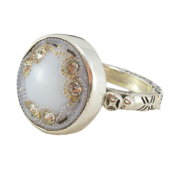 Elizabeth Ngo - Antique Button Ring - White with Crystals - Rings created on stirling silver from gorgeous European buttons from the Victorian/Edwardian era in Europe (approx 1880-1930s) available from www.seasonsemporium.com