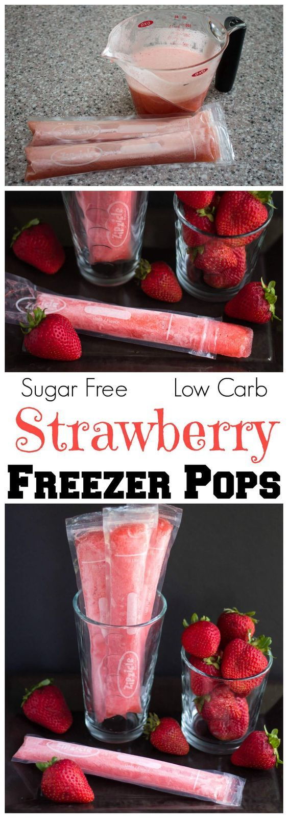 Low Carb Sugar-Free Strawberry Cheesecake Popsicles