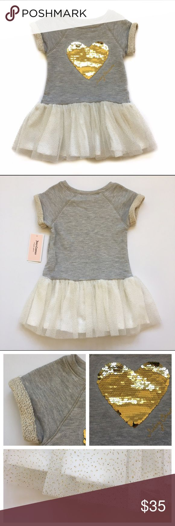 """Juicy Couture Tulle & Sequin Dress New with tags. Gray sweatshirt like material on the top with a large heart of gold mermaid sequins and """"Juicy Couture"""" embroidered beside it in gold. Full lined drop waist skirt of ivory tulle with gold dots. Matching ivory diaper cover/ bloomers. Juicy Couture Dresses Casual"""