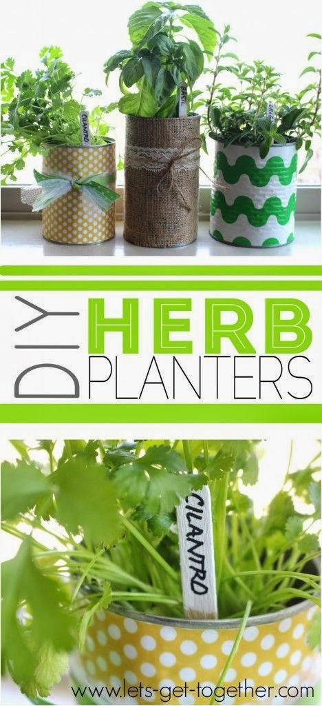 DIY Herb Planters from Let's Get Together -- I have tons of little pots, not to mention cans I can cover with burlap or craft paper that I already have