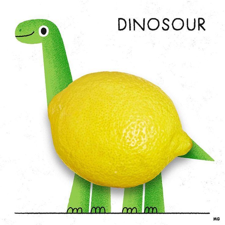 Breaking News! Dinosaurs aren't extint, they're just hiding in your fruit basket 🍋🐊 #illustration #dinosaur #lemon #pun #sour #laflorafauna #supplyanddesign