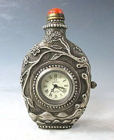 Chinese White Metal Snuff Bottle With Working Clock