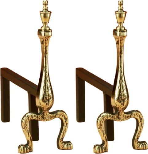 brass fire dogs for use with a fire basket purchased separately or seasoned logs can middot seasoned logsfireplace accessoriesextra