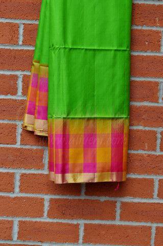 Parrot Green Coimbatore Pattu Saree with Pink/Yellow Checks & Zari Border - Aliveni