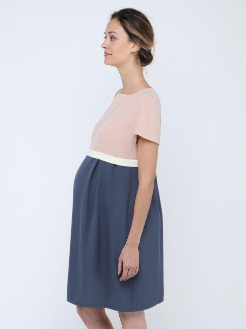 Robe de grossesse coupe empire bicolore bleu et rose clair Cameo PAULA JANZ - Photo