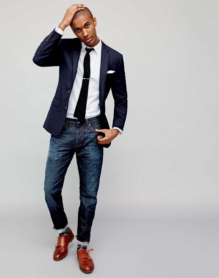 Modern Office Style: J.Crew exchanges the trousers for a pair of dark distressed denim jeans.