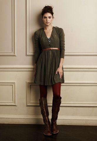 Perfect layering by Anthropologie. Plain door dress with color tights