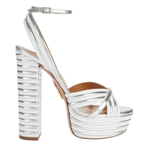 Aquazzura Sundance Silver Platform Sandals ($895) ❤ liked on Polyvore featuring shoes, sandals, white, platform sandals, aquazzura sandals, silver platform shoes, white platform shoes and silver shoes