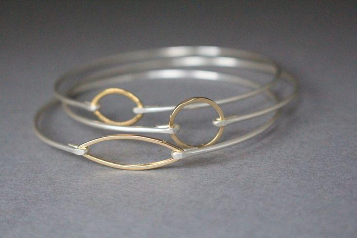 Mixed Metals Minimalist Set, Silver Bracelet, Gold Bracelet, Mixed Metals, Minimalist Jewelry, Silver Jewelry, Gold Jewelry, Gifts For Her by BaubleVine on Etsy https://www.etsy.com/listing/234634021/mixed-metals-minimalist-set-silver